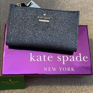 NEW Kate Spade Burgess Court Mikey glitter wallet